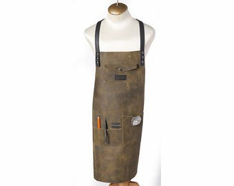 Distressed Leather Barber Apron Personalized Apron Hairstylist Apron BBQ Apron Barista Apron Leather Aprons for Women Carpenter Apron