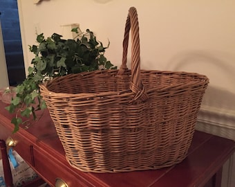 Vintage 1930's Wood Bottom French Farm Gathering Basket