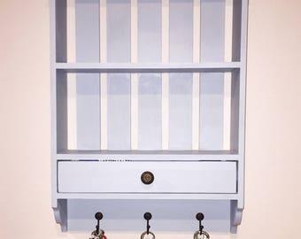 Kelley Key Shelf | Entryway Shelf | Key Hooks | Drawer | Wood Wall Storage