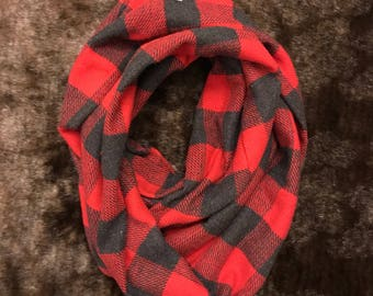 Red and grey flannel infinity scarf
