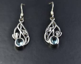 Celtic Design Sterling Silver Earrings with Aquamarine Gemstone