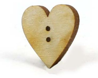 Unfinished Wood Heart Button - 1 inch tall by 1 inch wide and 1/8 inch thick with 2 .05 holes wooden shape (HARTBUT01)