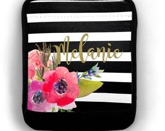 Luggage Handle Wrap Flowers Stripe Personalized Monogrammed Luggage Finder Suitcase Handle Wrap Travel Bag Wrap Bag Finder Monogrammed Gift
