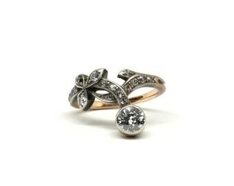 Art Nouveau Diamond Flower Ring