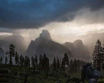 Yosemite Print, National Park Photo, Large Canvas, Moody Half Dome, Dramatic California Sunrise, Glacier Point Storm Print, Sierra Nevada