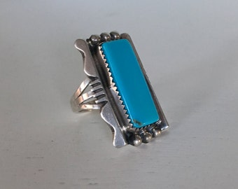 Vintage Sterling Silver Turquoise Statement Ring - Size 6