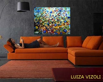 Summer  Modern Fantasy Tree Landscape Colorful Canvas Original Painting from Luiza Vizoli HUGE Canvas