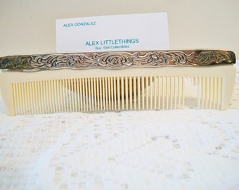 Godinger Silver Plated Vanity Comb Ornate Floral Design Vanity Dressing Table