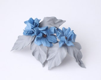 Blue flower Brooch Leather jewelry leather brooch leather flower,  lapel flower lapel pin