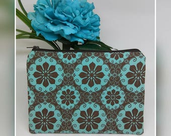 Teal and chocolate brown flat zipper pouch /cosmetic bag / makeup bag