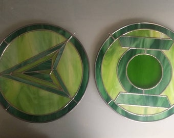 Set of Green Arrow & Green Lantern inspired stained glass pieces