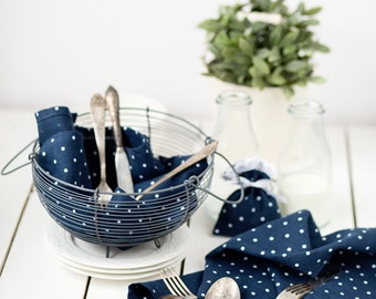 Blue polka dot towels - Navy linen towels - Christmas gift - Blue kitchen towels - Blue dotted tea towels - Linen kitchen towels