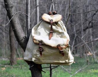 Vintage rucksack, Military backpack, Travel backpack, Canvas backpack, Hiking bag, Canvas bag, Vintage haversack