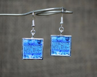 Blue Earrings Modern Jewelry Blue Dangle Earrings square handmade Resin Jewelry Unique Gifts blue jewellery Resin Jewelry Wearable Art