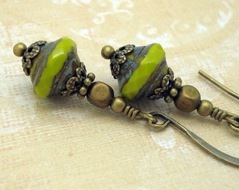 Avocado Green Drop Earrings in the Boho Chic Style