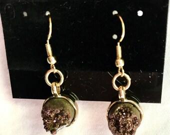 Small Brown Quartz Earrings