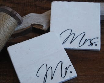 Mr & Mrs coasters  -  valentine's day gift, wedding gift, engagement gift, anniversary gift