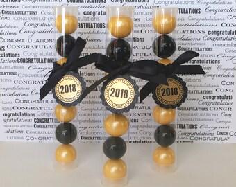 Graduation Gumball Tube Party Favors  - Set of 12 - Dozen (Black & Gold, Congrats, Class of 2018 Gift, Congratulations)