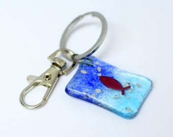 copper fish keyring - fused glass under the sea - recycled glass - eco friendly - seaside bag charm - blue ocean design - stocking filler