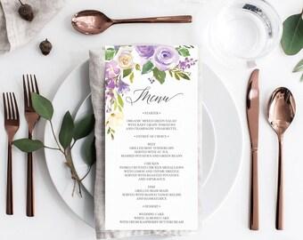 Wedding Menu - Printable Menu Template - Editable Menu Template - Bridal Shower Menu - 4x8 Menu - Baby Shower Menu - Darling Flora - Purple