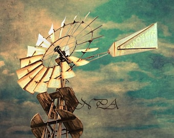 Rustic Windmill Teal Sky Country Decor Farmhouse Art Print Matted Picture A520