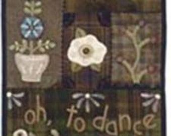"""Primitive Wool Appliqued wall hanging PATTERN """"Dance with Flowers"""""""