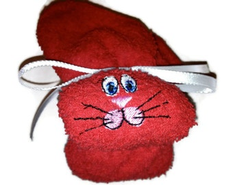 RED Embroidered ice pack Boo-boo Bunny for Baby Shower Rabbit Gift