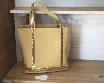 Large mustard canvas tote
