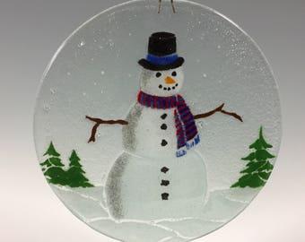Snowman Suncatcher, Winter scene, Snowman decor,