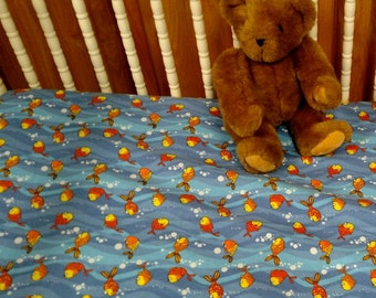 My Pet is a Goldfish !  . Baby Crib or Toddler Bed Fitted Flannel Sheet