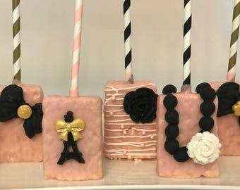 Pink and Black Paris Theme Rice Krispie Treat Assortment