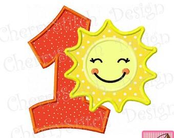 "Sunshine number 1 applique,Sunshine Machine Embroidery Applique Design - 4x4 5x5 6x6"""