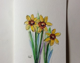 Spring Daffodils Watercolor Card / Hand Painted Watercolor Card