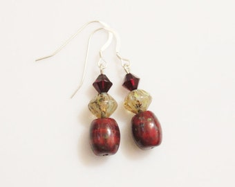 Dark Red Glass Earrings, Czech Bead Earrings, Glass Earrings