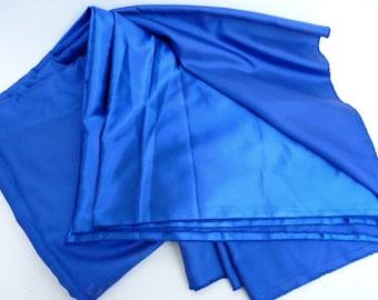 satin fabric dense color bright blue, cobalt, width 155cm
