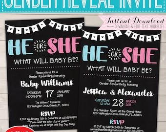 Gender Reveal Invitation Editable, Baby Gender Reveal Party, Gender Reveal Invitation Instant Download, Gender reveal Invitation Printable