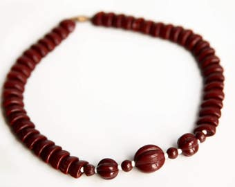 Chocolate Brown Art Deco Style Glass Beaded Choker Necklace ~ Vintage Jewelry