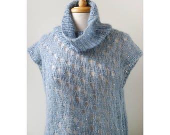 Vivienne Mohair and Silk Hand Knit Tunic, in LIGHT BLUE, Sweater, Wrap, Swing, Turtleneck, Luxurious, Winter, Warm, Dress, Lace