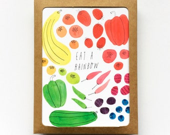 Set of 8 - Notecard Set, Eat a Rainbow, Holiday Gift Idea, Gift for Gardeners,  Veggie Lover, Blank Cards, Notecards, Watercolor Painting