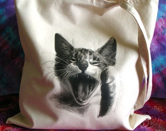 Cat Art Cotton Tote Bag, Cat Art, Pet Drawing, Pet Gift, Cat Tote Bag