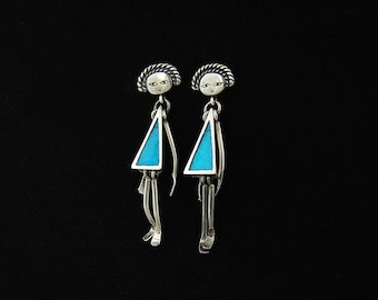 Silver articulated doll earrings , cute colourful lady earrings handmade in silver and cold enamel