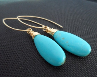 Beautiful Turquoise Stone Briolette and Gold Earrings - Great Birthday Gifts, Giveaway Gifts
