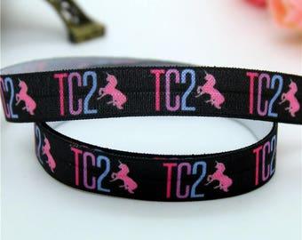 TC2 Tall & Curvy TC LLR Lula FOE Fold Over Elastic Black Unicorn Print 5/8 inch