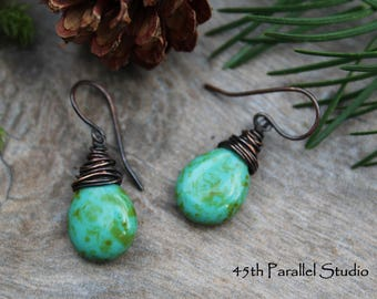 Turquoise Picasso Copper Earrings, Turquoise Jewelry, Rustic Earrings, Green Earrings, Wire Wrap Earring, Copper Earrings, Turquoise Earring