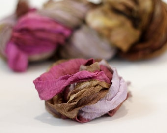 "Recycled Chiffon Sari Ribbon ,by the yard, ""Antique Rose"""" hand dyed  jewelry making, doll clothing, spinning supplies"