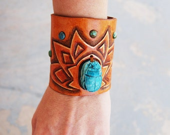 Tooled Leather Cuff Bracelet - Egyptian Scarab Beetle Lotus Flower Turquoise Gold Brown Leather