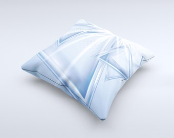 Clear Blue HD Triangles ink-Fuzed Decorative Throw Pillow