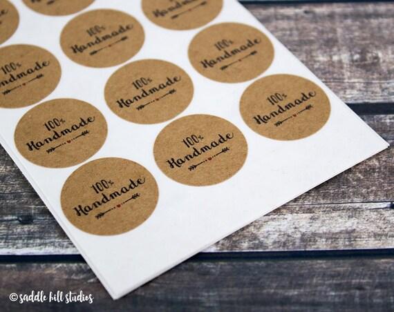 100% Handmade Stickers - Circle Stickers - Handmade labels - Store Supplies  - Kraft Stickers - Custom Stickers from SaddleHillStudios on Etsy Studio