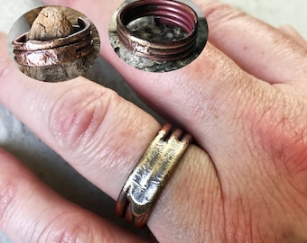 Viking Style Ring Mixed Metal copper and Sterling Silver Ring Three Band Layer Ring Men's Jewelry Rustic Artisan Metalwork Size 13 11 8.5