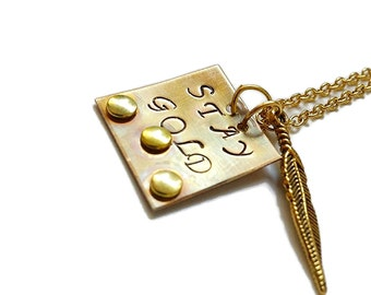 Stay Gold necklace - Stay Gold jewelry - The Outsiders - gold necklace - gold feather - Stay Gold Ponyboy - stay gold - Stay golden